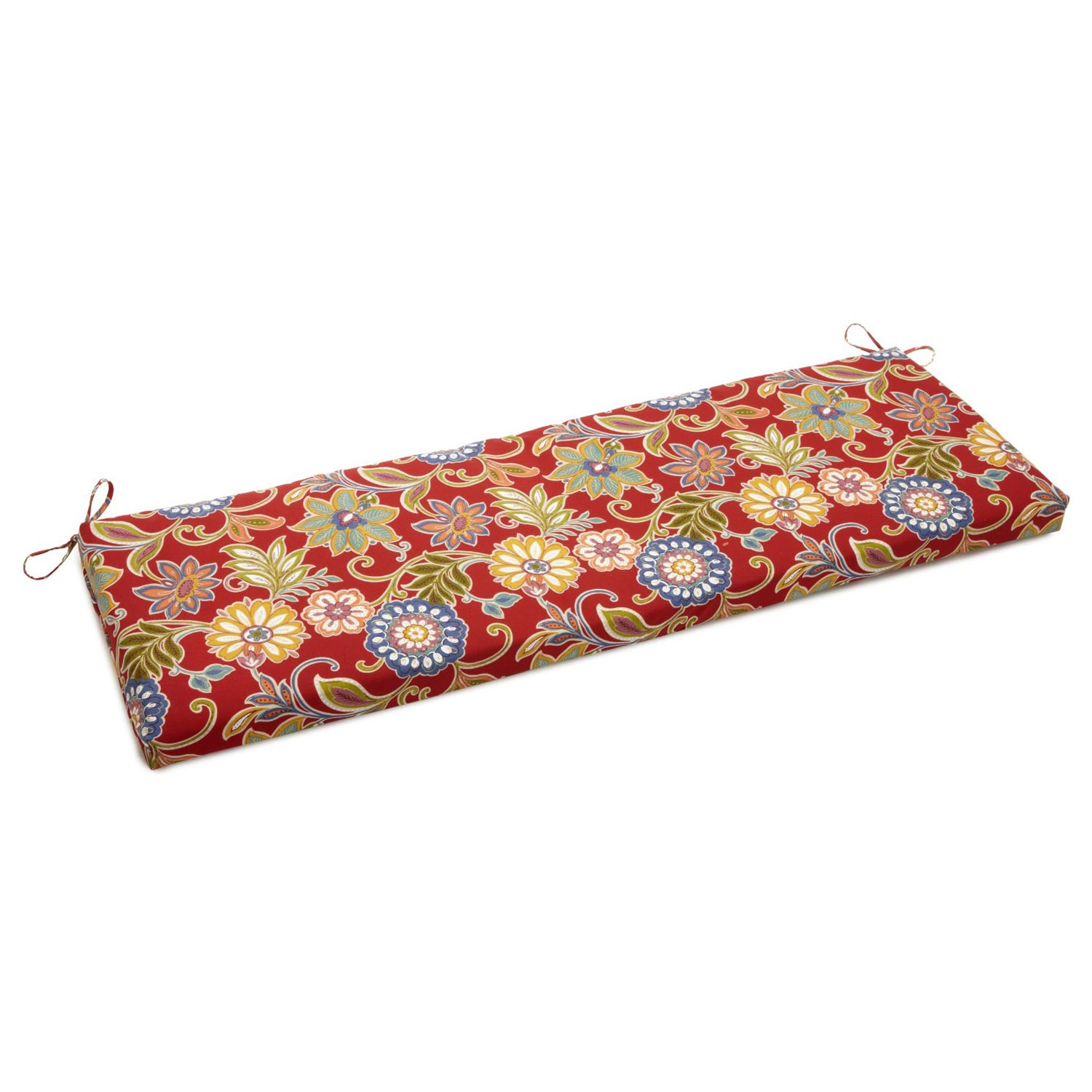 "57"" x 19"" Outdoor Bench Cushion - Ties, Patterned Fabric - BLZ-957X19-REO"