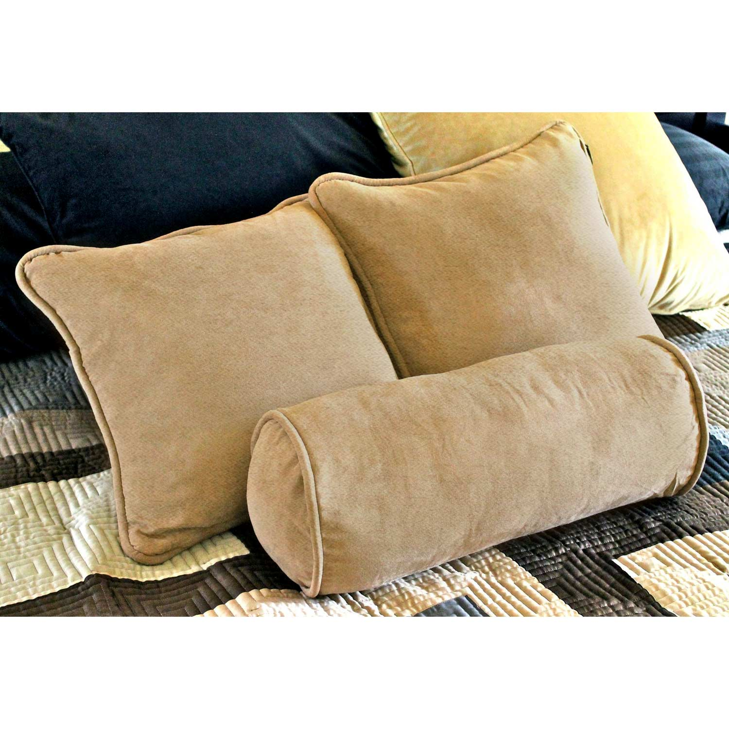 Microsuede 18'' Pillows and Bolster Set