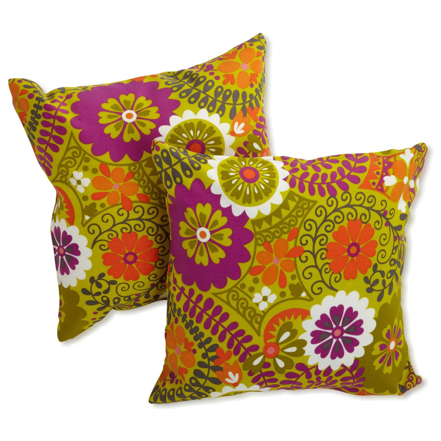 "18"" Outdoor Throw Pillow - Patterned Fabric (Set of 2) - BLZ-9910-2-REO-X-18"