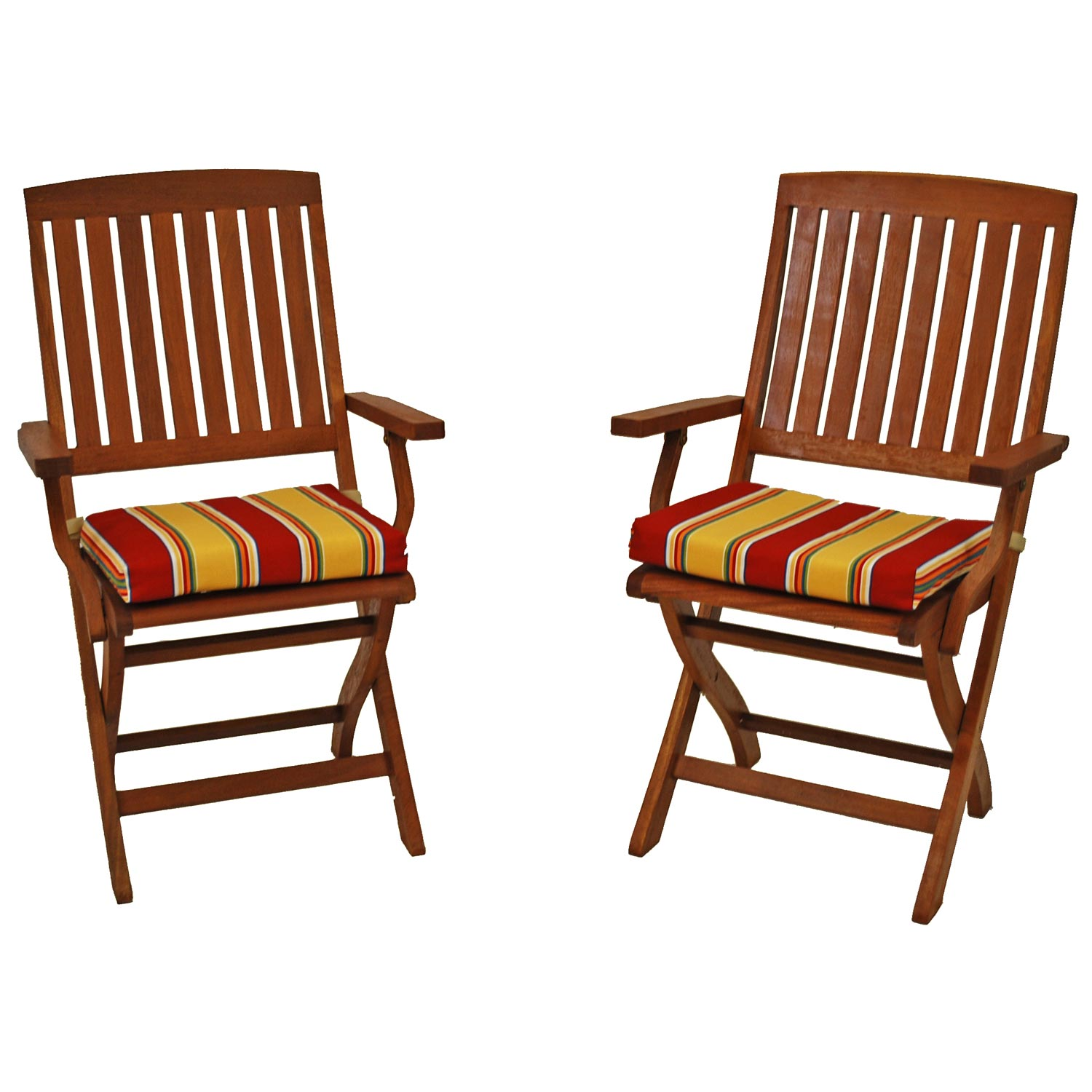 Outdoor Folding Chair Cushion Patterned Fabric Set Of 2
