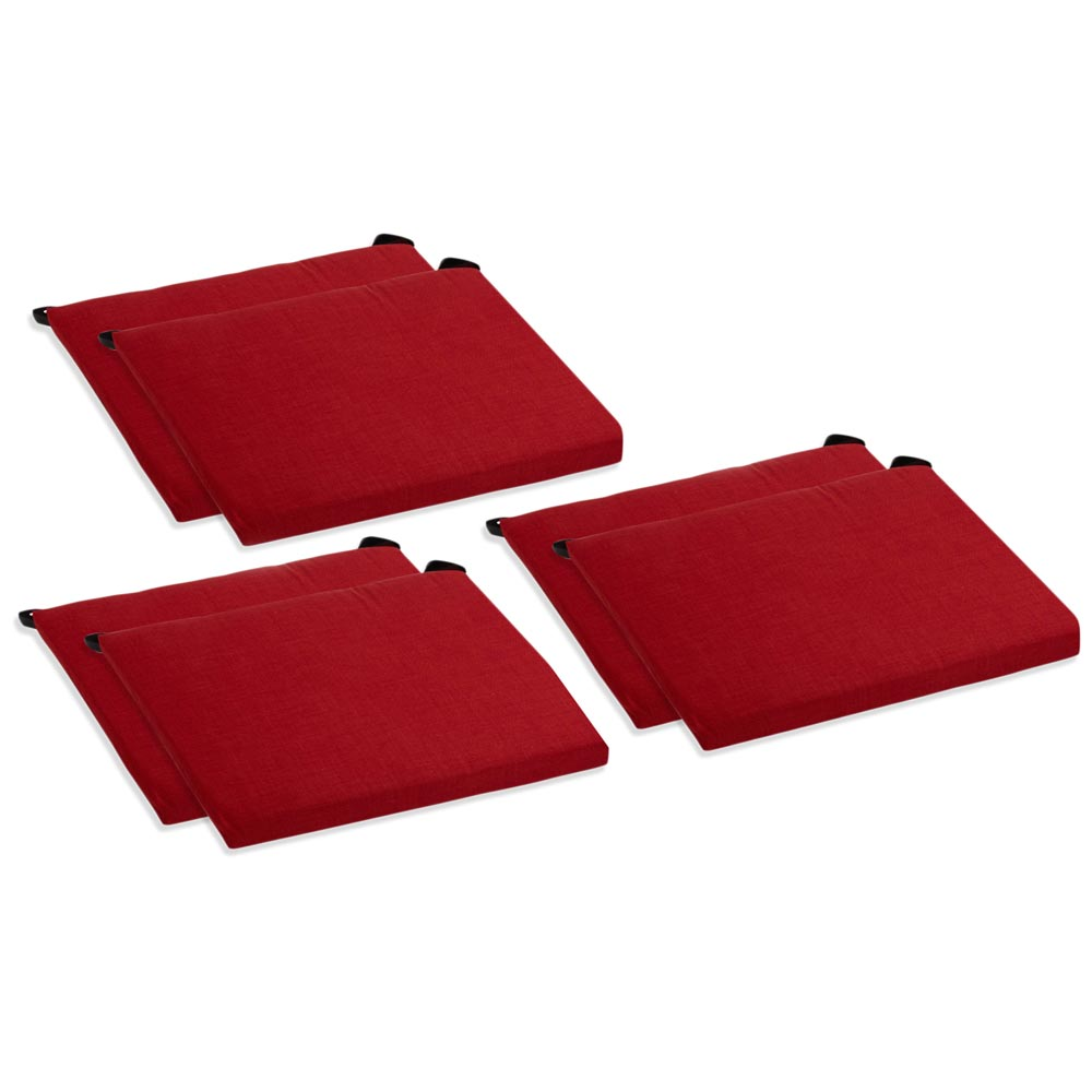 Outdoor Folding Chair Cushion Solid Color Fabric Set of 6