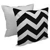 "Chevron Velvet Applique 20""Throw Pillows - Black Velvet and Ivory Fabric (Set of 2) - BLZ-FL-1-20-S2-BK-IV"