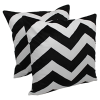 "Chevron Velvet Applique 20""Throw Pillows - Black Velvet and Ivory Fabric (Set of 2)"