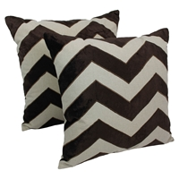 "Chevron Velvet Applique 20"" Throw Pillows, Brown Velvet and Natural Fabric (Set of 2)"