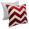 "Chevron Velvet Applique 20"" Throw Pillows in Crimson Velvet and Ivory Fabric (Set of 2) - BLZ-FL-1-20-S2-CR-IV"