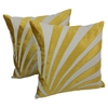 "Sun Ray Velvet Applique 20"" Throw Pillows in Gold Velvet and Natural Fabric (Set of 2) - BLZ-FL-11-20-S2-GO-NT"
