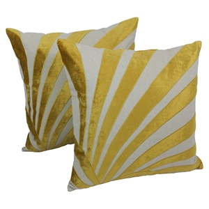 "Sun Ray Velvet Applique 20"" Throw Pillows in Gold Velvet and Natural Fabric (Set of 2)"