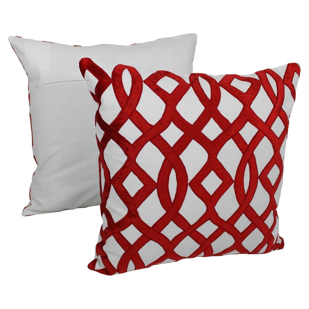 Ivory Colored Decorative Pillows : Trellis Velvet Applique 20