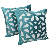 "Velvet Elegance Applique 20"" Throw Pillows, Aqua Blue Velvet and Ivory Fabric (Set of 2)"