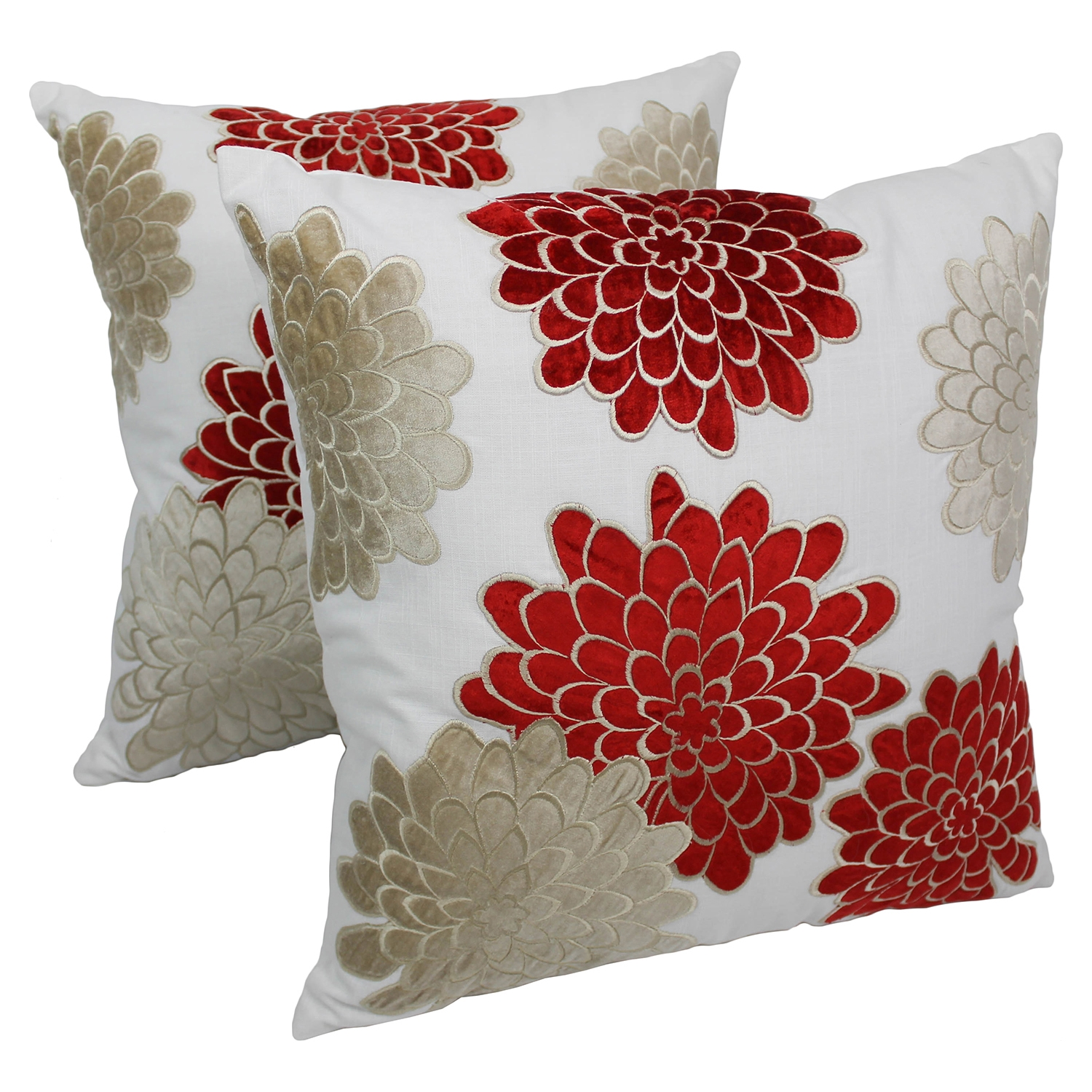 "Floral Bursts 20"" Throw Pillowss in Crimson and Beige Velvet, Ivory Fabric (Set of 2) - BLZ-FL-4-20-S2-CR-BE"