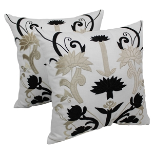 "Floral Elegance 20"" Throw Pillows - Black and Beige Velvet, Ivory Fabric (Set of 2)"