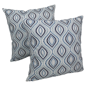 "Palette Ogee 20"" Throw Pillows - Blue Embroidery and Ivory Fabric (Set of 2)"