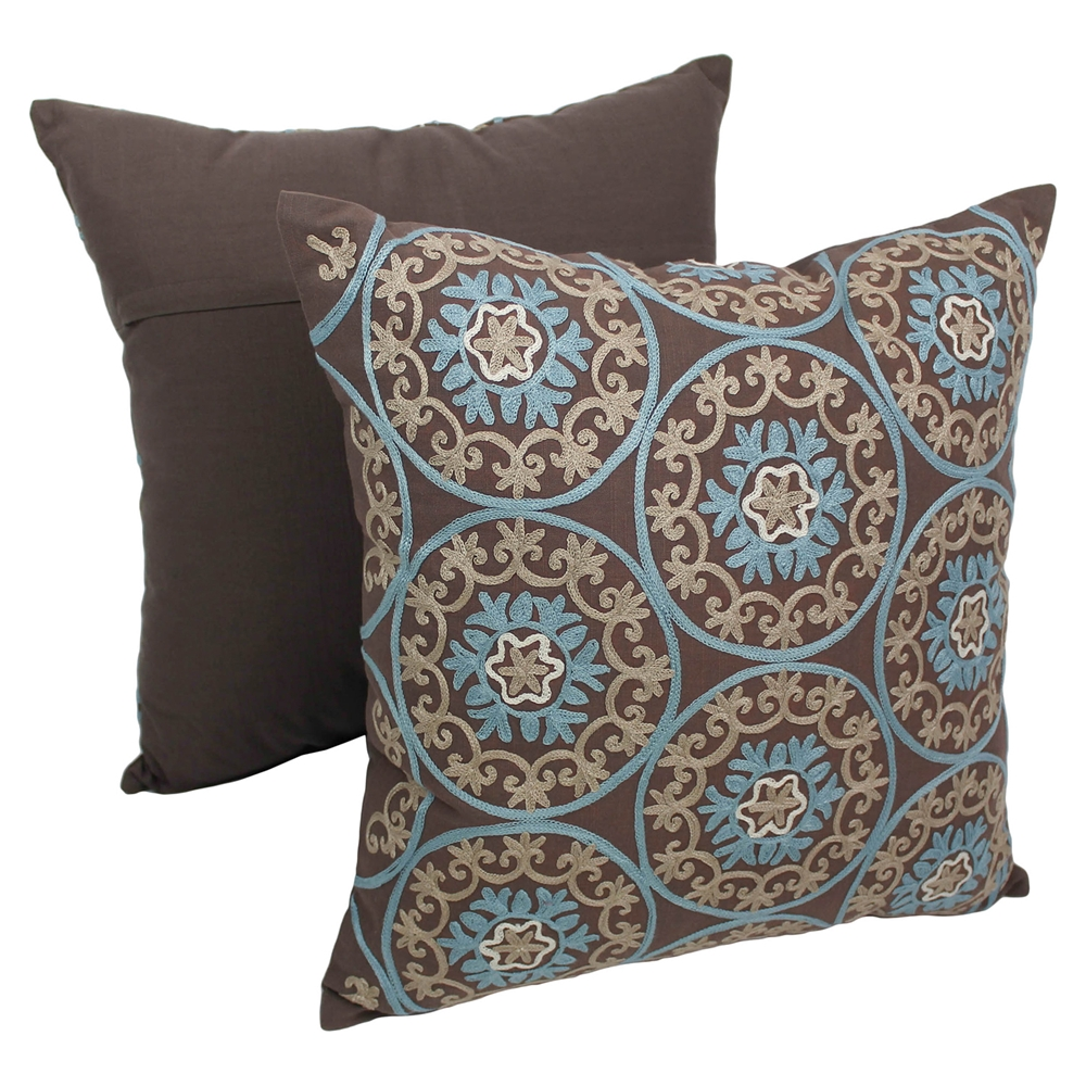 Baby Blue And Brown Throw Pillows : Medallion 20