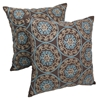 "Medallion 20"" Throw Pillows in Baby Blue and Beige Embroidery and Brown Fabric (Set of 2) - BLZ-FL-8-20-S2"