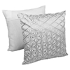"Diamond Mosaic 20"" Throw Pillows - Silver Embroidery and Ivory Fabric (Set of 2) - BLZ-FL-9-20-S2-SV-IV"