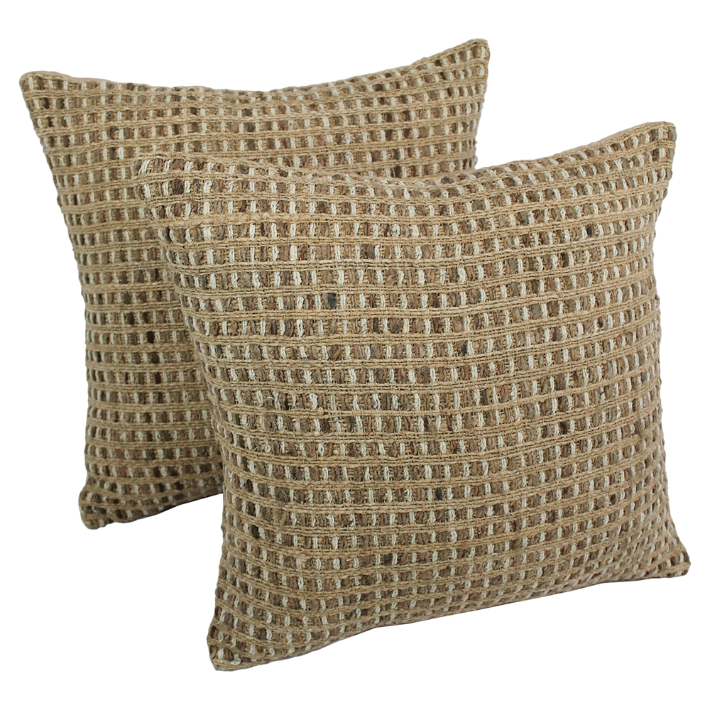 Woven Look Rope Corded Pillows Jute Brown Set Of 2