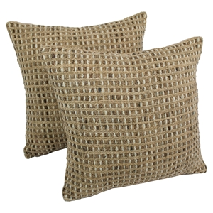 Woven Look Rope Corded Pillows, Jute Brown (Set of 2)