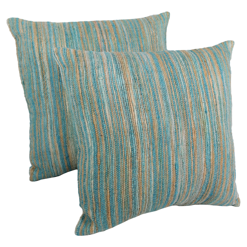 20 Quot Throw Pillows Aqua Blue And Beige Blue Palette Striped Set Of 2 Dcg Stores