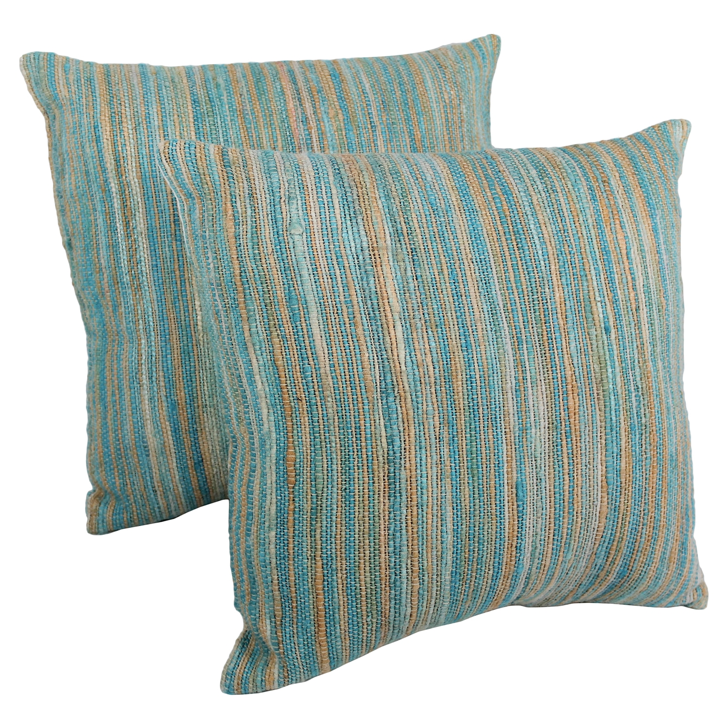 "20"" Throw Pillows - Aqua Blue and Beige Blue Palette Striped (Set of 2) - BLZ-IE-20-YRN-S2-AB-BE"