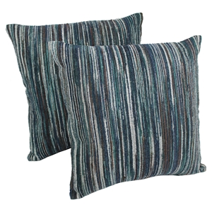 "Blue and Brown Natural Palette Striped 20"" Throw Pillows (Set of 2)"