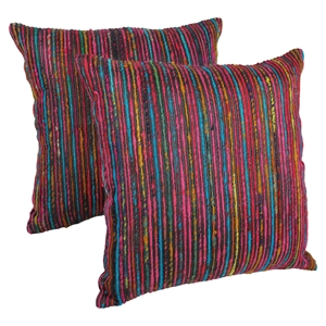 "20"" Throw Pillows - Rainbow Yarn and Black Fabric (Set of 2)"