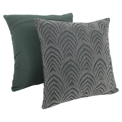 Beaded Grey Throw Pillow : Arching Fans Beaded 20