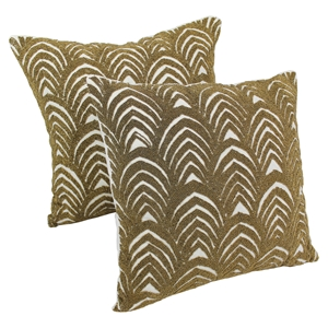 "Arching Fans Beaded 20"" Throw Pillows in Gold Beads and Ivory Fabric (Set of 2)"