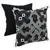 "Symmetrical Floral Beaded 20"" Throw Pillows, White Beads and Black Fabric (Set of 2) - BLZ-IN-20523-20-S2-BK-SV"