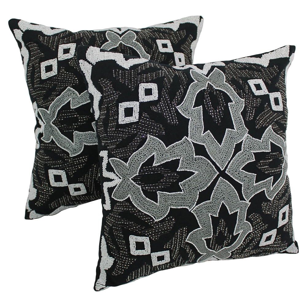 Black Beaded Throw Pillow : Symmetrical Floral Beaded 20