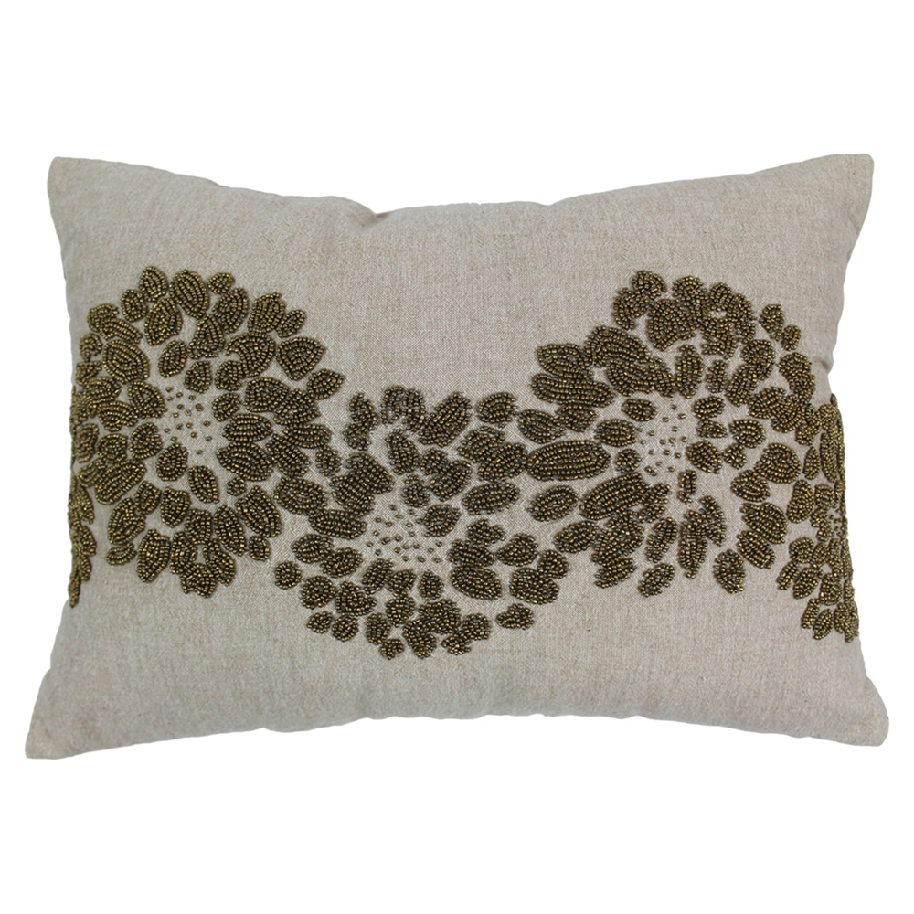 Decorative Pillows With Beads : Floral Pattern Beaded Chambrey Throw Pillows - Gold Beads and Natural Fabric (Set of 2) DCG Stores