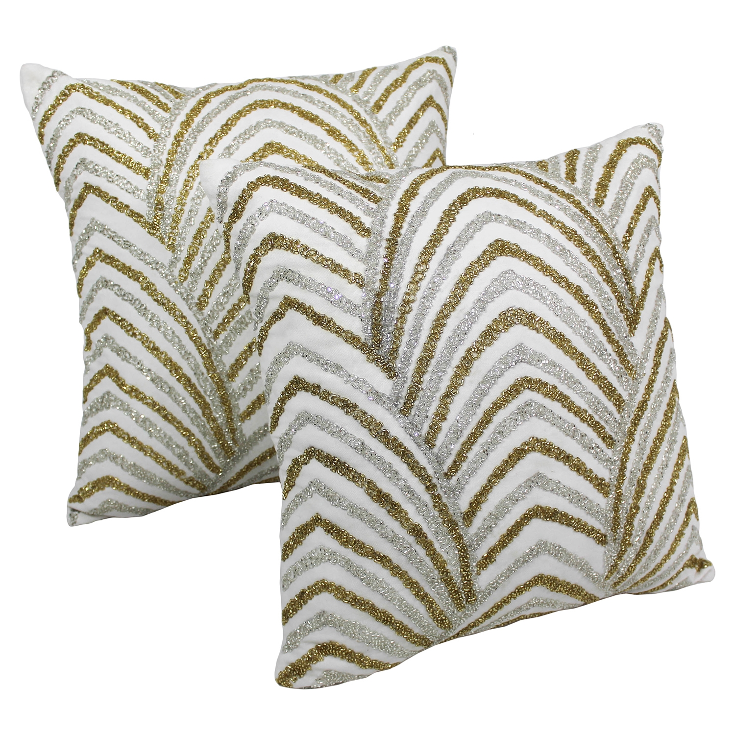 "Arching Fans Beaded 20"" Throw Pillows - Gold/Silver Beads, Ivory Fabric (Set of 2) - BLZ-IN-20728-20-S2"
