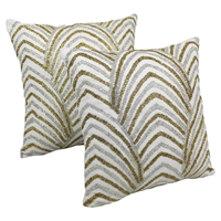 "Arching Fans Beaded 20"" Throw Pillows - Gold/Silver Beads, Ivory Fabric (Set of 2)"