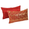"Paisley Scaled Velvet 20"" x 12"" Throw Pillows - Crimson Velvet & Gold Foil Applique (Set of 2) - BLZ-IN-21256-20-12-S2-RD-GO"