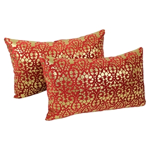 "Paisley Scaled Velvet 20"" x 12"" Throw Pillows - Crimson Velvet & Gold Foil Applique (Set of 2)"