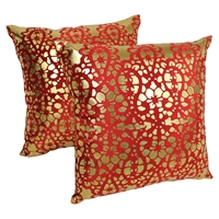 "Paisley Scaled Velvet 20"" Throw Pillows in Crimson Velvet and Gold Foil Applique (Set of 2)"