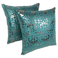 "Paisley Scaled Velvet 20"" Throw Pillows, Teal Velvet and Silver Foil Applique (Set of 2)"