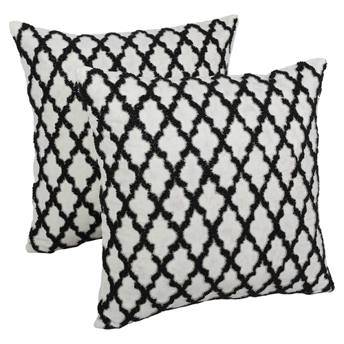 Black Beaded Throw Pillow : Moroccan Patterned Beaded 20