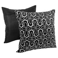 "Moroccan Beaded Velvet 20"" Throw Pillows in Silver Beads and Black Velvet (Set of 2)"