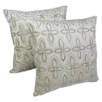"Moroccan Beaded Velvet 20"" Throw Pillows, Silver Beads and Ivory Velvet (Set of 2)"