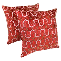"Moroccan Beaded Velvet 20"" Throw Pillows - Gold Beads and Red Velvet (Set of 2)"