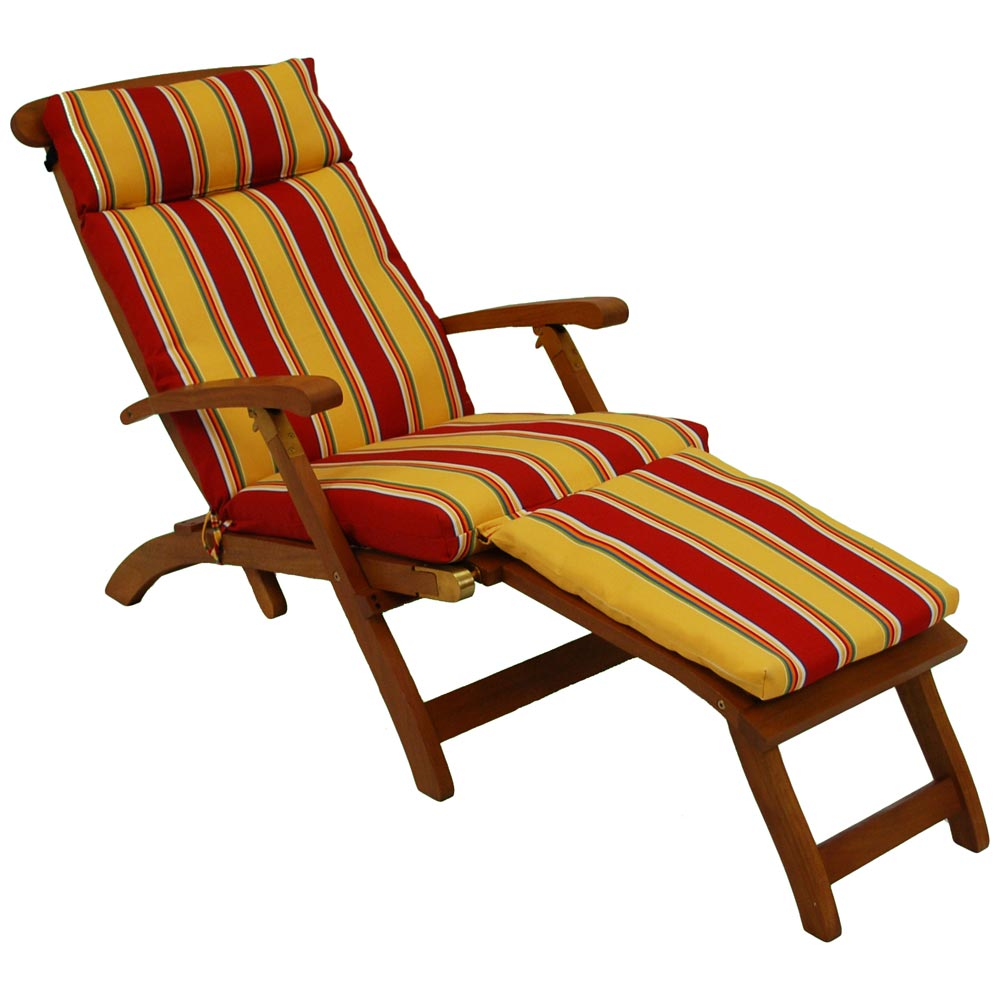 Steamer Deck Lounge Chair Cushion UV Resistant Patterned