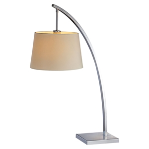 Bennett 1 Light Table Lamp - White Shade, Chrome Finish