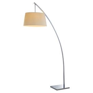 Bennett 1 Light Floor Lamp - White Shade, Chrome Finish
