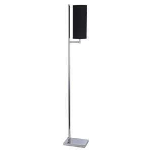 Bennett 1 Light Floor Lamp - Black Shade, Chrome Finish