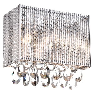 Crystalline 2-Light Wall Sconce - Rectangular, Crystals