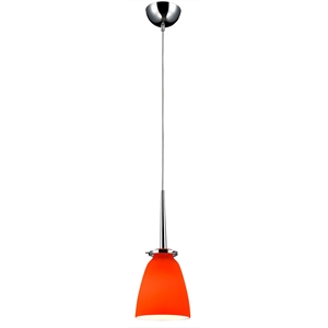 Belmont Mini Pendant Light - Chrome Metal, Orange Glass