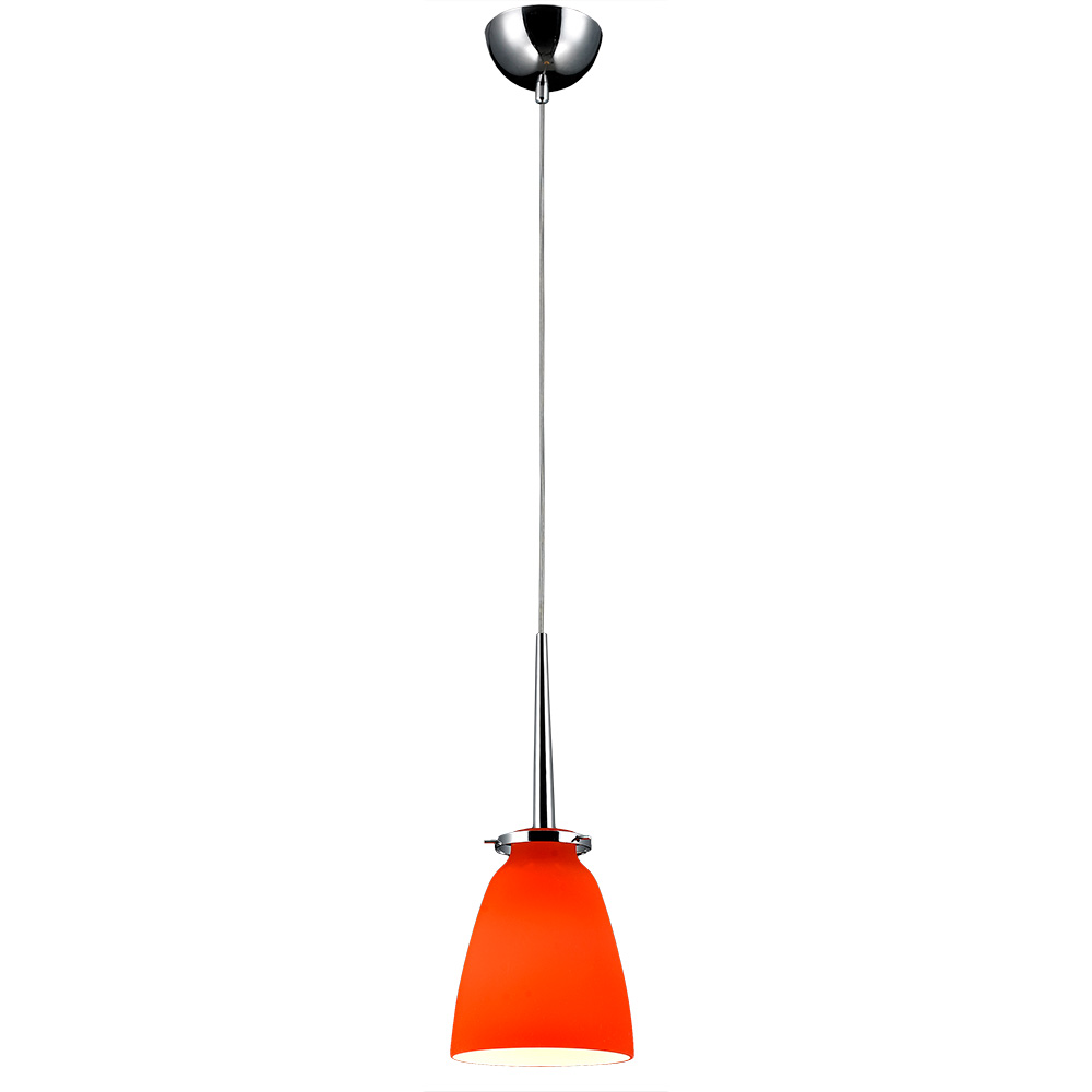 belmont mini pendant light chrome metal orange glass