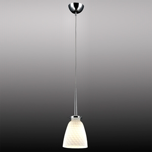 Belmont Mini Pendant Light - Chrome Metal, White Patterned Glass