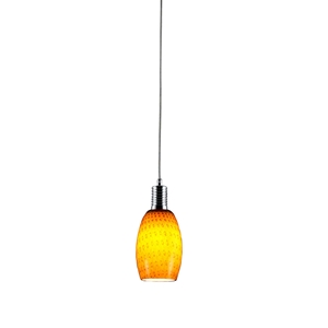 Prospect Mini Pendant Lamp - Metal, Orange Glass