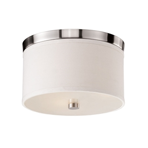 Braxton 10 Inch Ceiling Light - White Linen, Brushed Nickel Trim